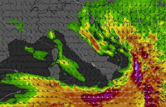Një front i ftohtë po lëviz përgjatë jugut të detit Adriatik dhe Jon, kërcënimi i rëndë vazhdon gjatë natës