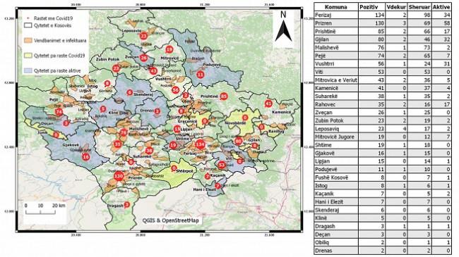 Kjo është tabela e rasteve me COVID-19 në Kosovë