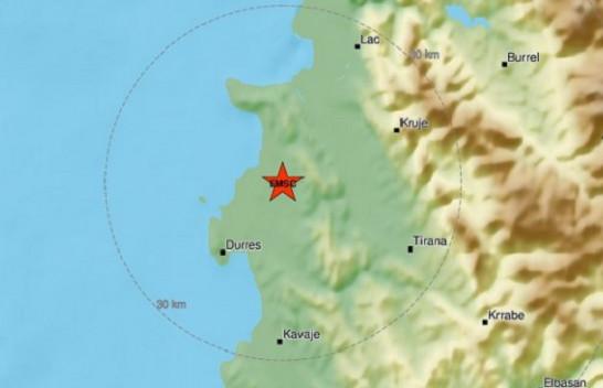 Dridhje toke në Shqipëri, epiqendra në verilindje të Durrësit